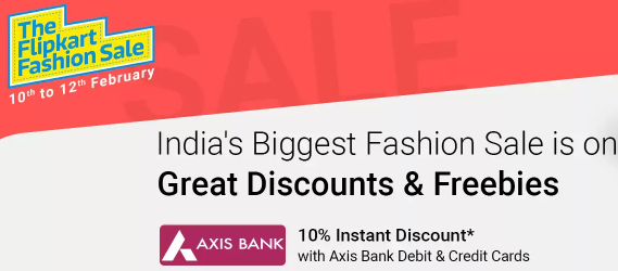 Flipkart Fashion Sale 10 Off on Axis Cards
